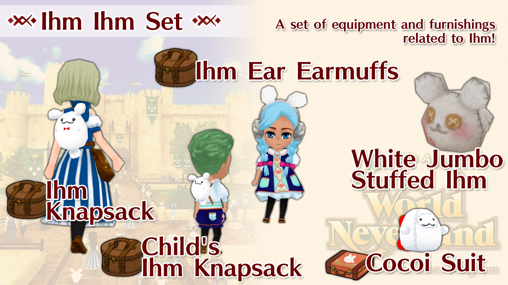 Ihm Ihm Set (Child's Ihm Knapsack, Ihm Knapsack, Ihm Ear Earmuffs, White Jumbo Stuffed Ihm, Cocoi Suit)