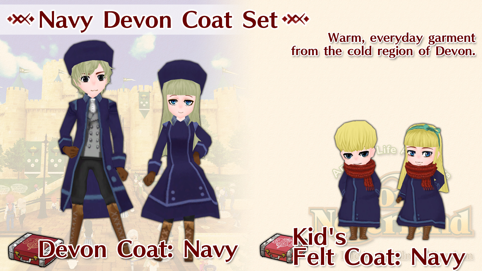 Navy Devon Coat Set